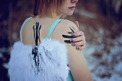 Between (AmyJanelle) Tags: blue girl angel wings paint poetry dress bokeh inspired fallenangel poems streaks bluedress