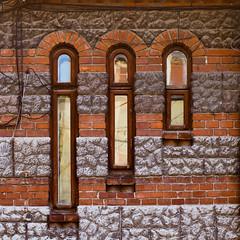 The red windows (Brînzei) Tags: windows brown cables squareformat m42 manualfocus ★ tomioka bucurești canoneos400d autoyashinondx50mmf14