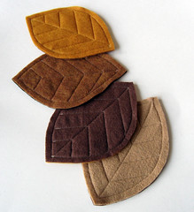 Brown, ochre, tan, and gold felt leaf coasters set (pickychicky) Tags: brown home kitchen gold handmade sewing crafts arts tan craft housewares felt stitching dining accessories projects ochre decor serving