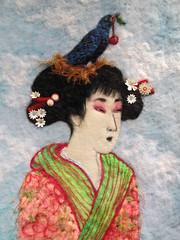 The Bluebird and the Geisha (Stacy Polson) Tags: art wool birds felted geisha fiberart asianart needlefelted