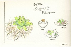 2012_01_13_fukino_to_01 (blue_belta) Tags: plants green art japan sketch drawing 日本 coloredpencil 料理 ふきのとう 色鉛筆 daikan グリーン fukinoto 大寒