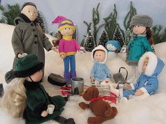 Keeping Warm with Hot Cocoa & Good Friends (Foxy Belle) Tags: winter snow hot ice scale snowman doll danielle skate eden 16 rement cocoa madeline miss diorama genevieve nona clavel foxybelle