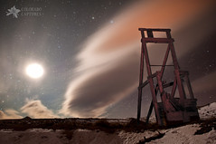 Cattle Chute To The Stars (Mike Berenson - Colorado Captures) Tags: sky moon lightpainting night clouds stars colorado saturn virgo allrightsreserved libra spica oldwest scorpius westcliffe antares cattlechute coloradocaptures copyright2012bymikeberenson