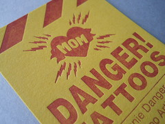 Danger! Tattoos card (artnoose) Tags: sf sanfrancisco california red yellow tattoo danger mom heart stripes tattoos business card bayarea custom ochre letterpress tattooing
