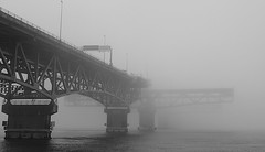 Covert Transit (mrbrkly) Tags: bridge fog virginia george memorial open yorktown p coleman