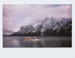 (katie de bruycker) Tags: lake snow canada mountains film ice alberta banff instax minnewanka