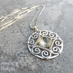 Scapolite Spiral Circle Frame Sterling Silver Pendant - KS40 (KSJewelleryDesigns) Tags: yellow metal silver circle spiral necklace beads wire shiny hammered shine bright loop handmade smooth wrapped jewelry diamond jewellery faceted frame metalwork handcrafted delicate sparkling tutorial forged pendant circular polished coiled gemstone sterlingsilver wirework wirewrapping wirewrapped silverwire briolette brightsilver scapolite diamondbriolette coldforged