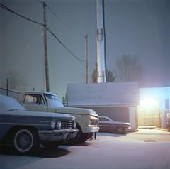 (Josh Sinn) Tags: longexposure snow storm color cars 120 6x6 film night truck mediumformat dark md kodak maryland pickup vehicles late snowing 100 howardcounty ellicottcity yashicamat124g ektar route40 hoco joshsinn joshuasinn