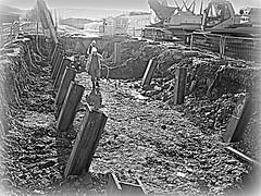 Rosyth Dockyard... (Bob T...) Tags: art work scotland construction flickr framed steel bobthompson blacknwhite beams piles foundations rosyth rakers sheetpiles steelpiles rakingpiles