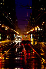 A Darkness Forever (Jeremy Brooks) Tags: sanfrancisco california usa reflection wet rain tracks wires marketstreet sanfranciscocounty
