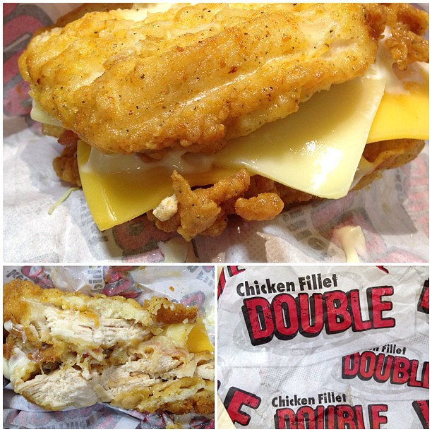 This is Chicken Hell, today! Theres no room for a bun! -- The new #KFC Chicken Fillet Double sandwich (called Double Down sandwich in US). This one-of-a-kind sandwich features two thick and juicy boneless white meat #chicken filets, two pieces of bac