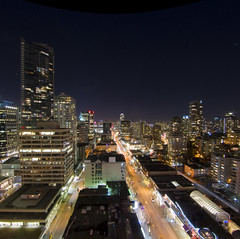 Robson Lights (ecstaticist) Tags: street blue urban canada night vancouver exposure darkness time horizon robson