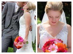 Wedding Bouquet (Sam Rigby Photo) Tags: pink wedding red orange square groom bride veil squareformat bouquet weddingdress weddingflowers gerberas clitheroe weddingphotographer bridalbouquet menssuit eaveshall femaleweddingphotographer iphoneography instagramapp