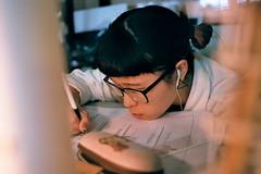 Negative0-30-27(1) (Lee J-lin) Tags: girl dark drawing working hard study moring
