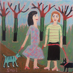 "#1329 ""Sisters"" (sariart2) Tags: original trees girls dog art sisters self painting landscape acrylic raw folk ooak walkers sari primitive childlike azaria noy taught outsidr navie"