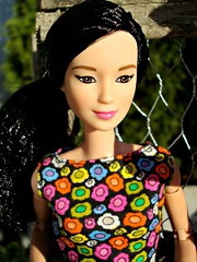 Asian Girl (Deejay Bafaroy) Tags: pink flowers blue portrait orange green asian outdoors doll barbie rosa sunny blumen portrt grn blau sonnig mattel puppe draussen madetomove