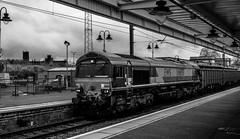 Ely - cathedral and shed (Peter Leigh50) Tags: blackandwhite white black monochrome station train mono cathedral shed railway db 66 class ely freight dbs ews