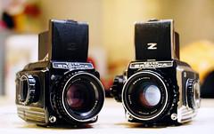 Bronica S2A in chrome and black chrome (Steve only) Tags: auto color reflex f14 sony mc 55mm bronica m42 80mm f24 porst 5514 zenza s2a 8024 mitakon zenzanon  cameraandlens nex3 lensturbo