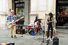 R&B On A Saturday Afternoon (standhisround) Tags: uk people music male london westminster musicians drums bass group band trafalgarsquare streetscene trio busker guitarist streetmusicians entertainers