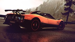 Mirror Mirror (polyneutron) Tags: orange mountains wet car forest reflections photography overcast automotive videogame needforspeed supercar zonda nfs pagani hotpursuit photomode hp2010