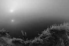 of light and shadow worlds (Mindaugas Buivydas) Tags: morning winter bw mist cold fog mystery river dark frost december mood moody darkness delta fisheye transition lithuania thismorning lietuva nemunas nemunasdelta sadnature