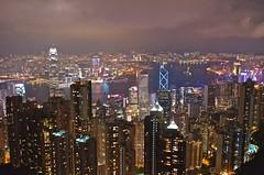 Victoria Peak at night  (AkheL) Tags: building tower night skyscraper port hongkong nikon view harbour d7000