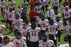 The Texas Tech Red Raiders running for the tunnel at halftime....beaten and dejected (Hazboy) Tags: red game college sports k sport austin star football big ut university texas tech state stadium royal horns longhorns lone conference 12 ncaa darrell twelve raiders hazboy hazboy1