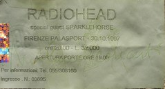 Radiohead, Palasport, Firenze, 1997 (costanza.baldini) Tags: ticket radiohead