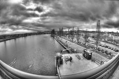 325/360 - Borderline (mlNYs) Tags: bridge blackandwhite bw white black nikon day cloudy fx luxembourg manfrotto blackdiamond moselle remich nikoniste d700 360project mlnys nikkor16mmf28dfisheye 26nov2011