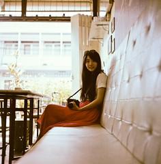. (Sakulchai Sikitikul) Tags: camera portrait woman 120 6x6 tlr smile vintage mediumformat square thailand restaurant cafe dof kodak bessa grain naturallight depthoffield explore songkhla portra rolleicord canonscan9000f