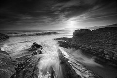 ocean spray (Andy Kennelly) Tags: ocean california wild bw motion beach wet coast rocks long exposure moody salt shell spray shore jagged pismo formations