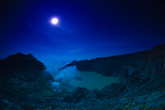 Moonlight Serenade (zoomion) Tags: blue sky moon lake night danger indonesia stars volcano smoke acid sulfur mystic ijen
