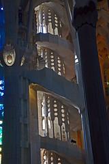 Filigree staircase (dorena-wm) Tags: barcelona light church wall architecture licht spain perspective staircase gaudi architekt