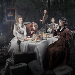 Tea Party (Rob Woodcox) Tags: party painterly texture cakes beauty fashion fog forest vintage dark painting fur vines woods punk dress chairs tea antique michigan smoke victorian surreal tie atmosphere suit bust cups jacket gloves trunk imagination culinary steampunk robwoodcox robwoodcoxphotography