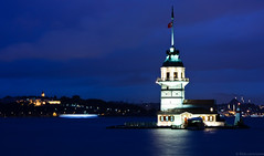 kz kulesi (cemv) Tags: city blue sea sky tower history water architecture night canon turkey seaside cityscape nightshot istanbul bosphorus manzara maidenstower 450d canon450d