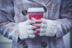 when we're together (meg.reilly) Tags: christmas winter cup 50mm hands holidays d70 nikond70 coat knit hotchocolate gloves starbucks f18 vignette hotcocoa starbuckscup fingerlessgloves nikkor50mm