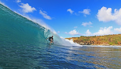 pulling in (bluewavechris) Tags: ocean sea sun water fun hawaii surf ride action surfer tube wave maui surfboard thebay swell epic honoluabay tuberide honolua