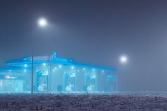 (dSavin) Tags: longexposure winter monochrome station fog night town russia gas filling     2011 diffusedlight     sonyalpha          sonya65