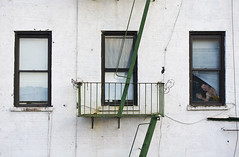 Behind Window Number Three (Sam Goodman) Tags: nyc windows white newyork building green stairs wire cables worn fireescape blinds barbed highline