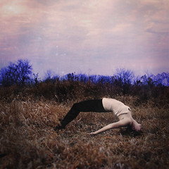 warrior's will & weakness (nika witkowski) Tags: blue sky woman girl field photography body warrior conceptual barren weakness contorted nikawitkowski texturebybrookeshaden