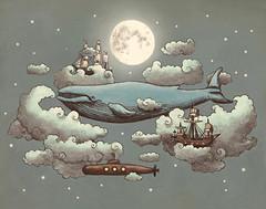 Ocean Meets Sky (igo2cairo) Tags: ocean sea sky art illustration stars drawing submarine fullmoon whale magical tallships hypothetical bluewhale terryfan igo2cairo oceanmeetssky society6