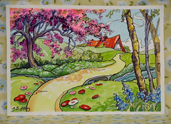 Storybook Cottage Series Cherry Blossoms and Bluebells (cottagelover1953) Tags: flowers original roof red bluebells vintage watercolor cherry spring blossoms cottage retro storybook