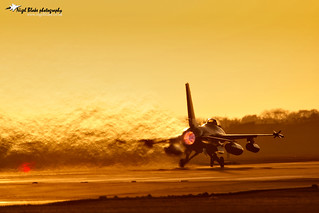 Danish F16 Taking off at sunset RAF Lakenheath Suffolk