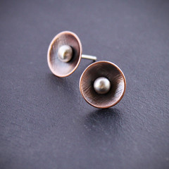copper stellar studs (bluehourdesigns) Tags: blue metal stone modern silver gold natural recycled handmade unique jewelry jewellery hour metalwork copper designs handcrafted 14k sterling goldsmith ecofriendly reclaimed silversmith metalsmith bluehourdesigns