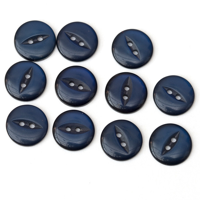11 vintage dark blue fisheye buttons – 13mm