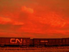 red sky at night (rumimume) Tags: red sky ontario canada clouds canon photo still day sigma niagara 550d t2i picof niagaraontariocanadatrain rumimume