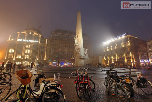 Dam square under the fog - Amsterdam