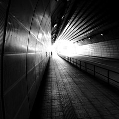 Towards the Light: Central Hiroshima Japan (Kangaroobie... .home) Tags: road light silhouette japan metal shadows geometry tunnel hiroshima tiles towards