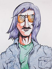 Max Magnum (Drew Albinson Creative) Tags: portrait man color guy texture illustration youth ink drawing fine arts young dude halftone jacket 80s marker sharpie bro mustache 1980 bros gesso