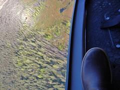Foot (Travis S.) Tags: shadow alaska bag boot flying floor flat aerial flats helicopter spruce overhead mintoflats xtratuff